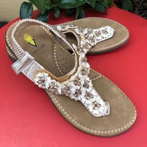 Cute Beaded Gold Sandals